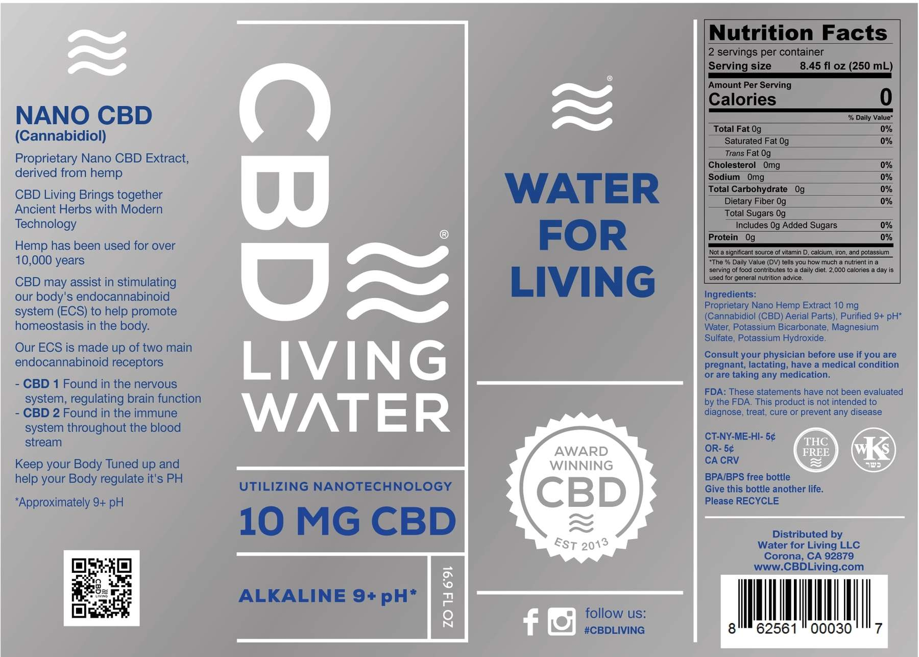 CBD Water 10mg Label